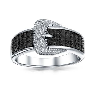 Micron Pave Black CZ Sterling Silver Buckle Rings YCR1175