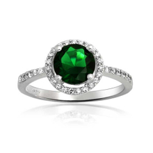 Wholesales Emerald Green CZ 925 Sterling Silver Ring YCR2984