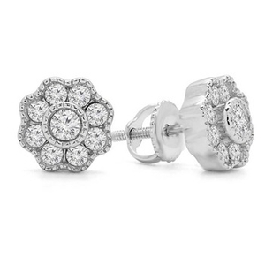 Antique Vintage Flower Motif Stud Screw Back Earrings YCE2578