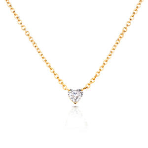 Floating 18K Gold Sterling Silver CZ Heart Necklace YCN6849