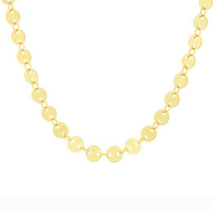 18k Gold Discs Necklace Solid Brass Multiple Necklace YCN3415
