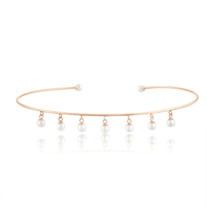 Dangling Pearls Choker 925 Sterling Silver Necklace YCN6866