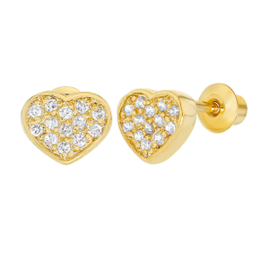 18k Gold Micro Pave CZ Heart Screw Back Baby Earrings YCE2627
