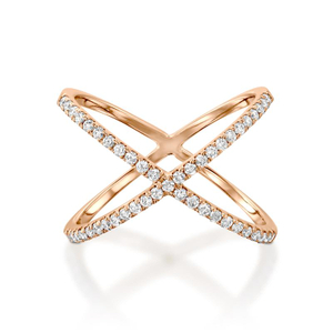 Cross Micron CZ Rings in 925 Silver Rose Gold Plated YCR3408