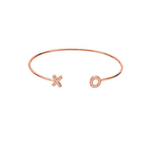Rose Gold Plated X O Adjustable Silver Bangle YCB6403