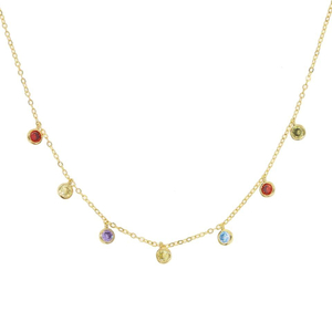 Rainbow Bezel Dangle Drop CZ Necklace Jewelry YCN6895