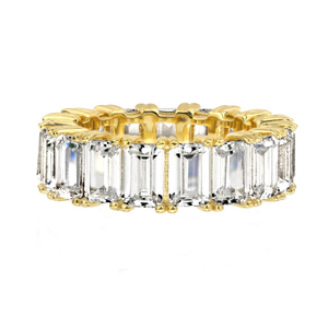 18K Gold Emerald Cut Eternity Band Ring in 925 Sterling Silver